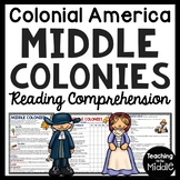 Middle Colonies Reading Comprehension; Colonial America; 13 Colonies