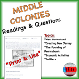 Middle Colonies Readings & Questions