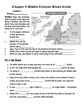 Middle Colonies Study Guide