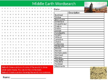 Middle Earth Wordsearch Puzzle Sheet Keywords Lord of the Rings Literature