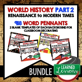 Middle East After WWII Word Wall Pennants (World History)