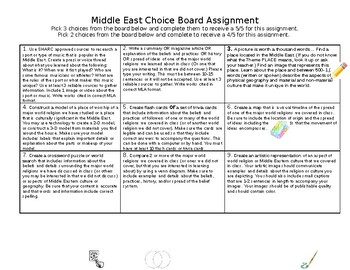 Middle East Choice Board Assignment (with rubric)