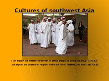 Middle East Contrasting Cultures PPT, Cloze Notes and Answer Key