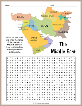 Middle East Geography Word Search FUN