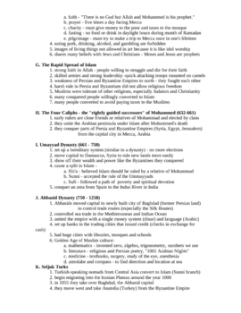 Middle East History Outline