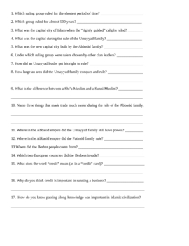 Middle East History Outline and Graphic Organizer
