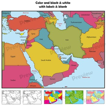 Middle East Maps: Clip Art Map Set