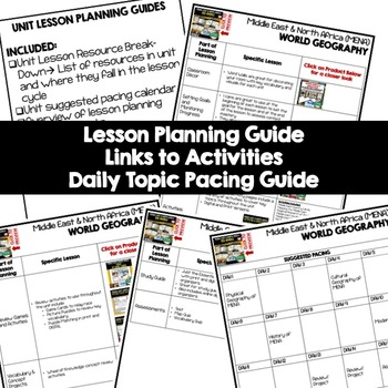 Middle East North Africa Lesson Plan Guide for World Geography Back To School