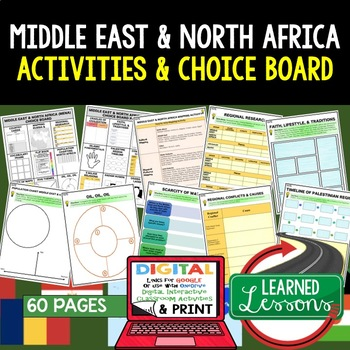 Middle East & North Africa (MENA) Choice Board Activities Paper & Google Drive