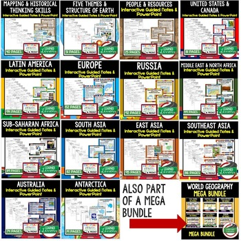 Middle East, North Africa Notes and PowerPoints Geography Print, Digital, Google