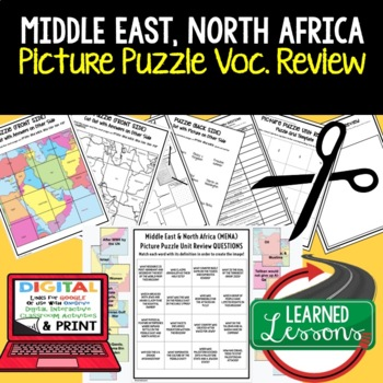 Middle East, North Africa Picture Puzzle, Test Prep, Unit Review, Study Guide