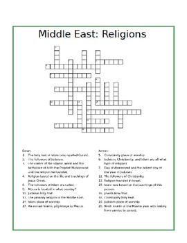 Middle East Religions Crossword