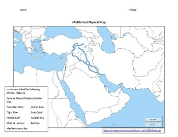 Middle East (Southwest Asia) Physical Map