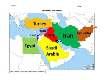 Middle East (Southwest Asia) Political Map