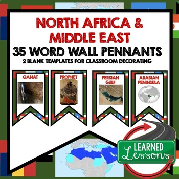 Middle East and North Africa Word Wall Pennants (World Geography)