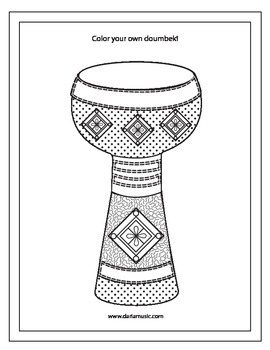 Middle Eastern Drums – Doumbek Background + Coloring Page
