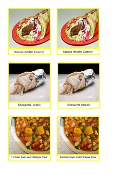 Middle Eastern Food Cards