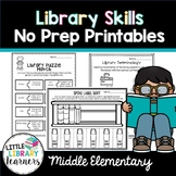 Library No Prep Printables Middle Elementary