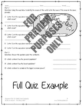 Middle Grade Geography Assessment Pack – Tests & Quizzes