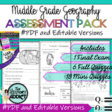 Middle Grade Geography Assessment Pack – Tests & Quizzes ★EDITABLE★