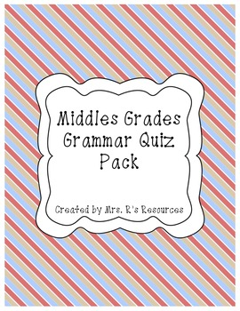 Middle Grades Grammar Quiz Pack (All 8 parts of speech included!)