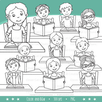 Middle School / Teen Kids Clip Art - Reading & Writing
