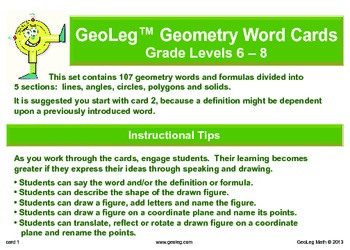 Middle Grades Math Common Core Geometry Vocabulary and Formula Cards