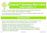 Middle Grades Math Common Core Geometry Vocabulary and For