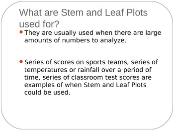 Middle Grades Math PPT Presentation - Stem and Leaf Plots