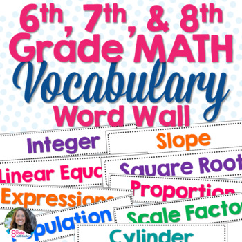 Middle Grades Math Word Wall Vocabulary (6th, 7th, & 8th Grade) BUNDLE