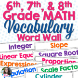 Middle Grades Math Word Wall Vocabulary (6th, 7th, & 8th G