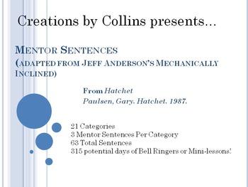 Middle Grades Mentor Sentences from Hatchet