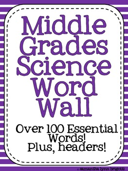 Middle Grades Science Word Wall {Common Core Tier III Words}