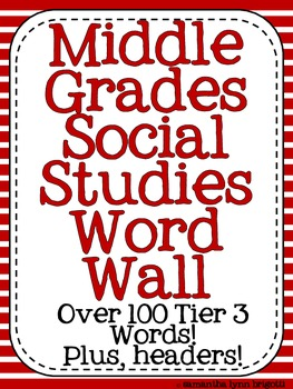 Middle Grades Social Studies Word Wall {Common Core Tier III Words}
