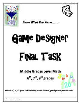 """Middle Grades level Math Common Core """"Game Designer"""" final project combo pack"""