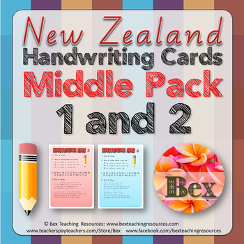 Middle Handwriting Card Pack 1 & 2 Bundle (New Zealand Font)