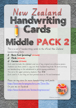 Middle Handwriting Card Pack 2 (New Zealand Font)