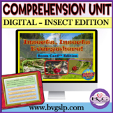 Middle High School BOOM CARDS Comprehension Unit Insect Edition - Teletherapy