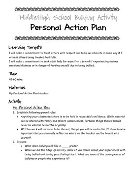 Middle & High School Bullying Activity: Personal Action Plan