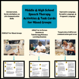 Middle & High School Speech Therapy Activities & Task Cards for Mixed Groups