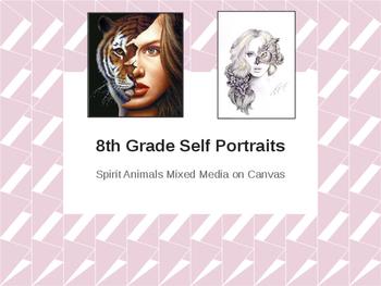 Middle & High School Spirit Animal Self Portrait Painting / Drawing Bundle