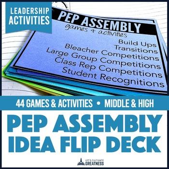 Middle High School Spirit Pep Assembly Activity 44-Card Flip Deck