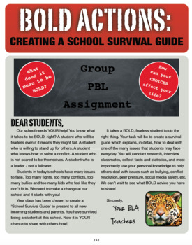 Middle High School Survival Guide PBL Project Based Learning Research