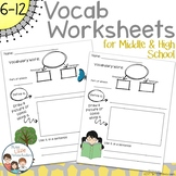 Middle School Vocabulary Worksheet with Plain and Themed Pages