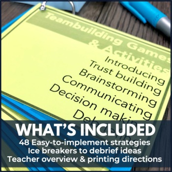 Team Building Activities 48-Card Flip Deck for Student Council or Leadership