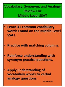 picture regarding Printable Ssat Practice Test called Center Place SSAT: Vocabulary, Synonym, and Analogy Educate