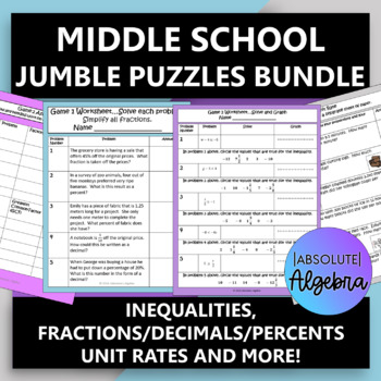 Middle School Math $100,000 Pyramid Game Activity Bundle (14 Games)