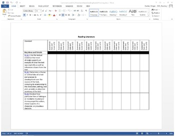 Middle School (6-8) ELA Common Core Standards Based Student Tracking Sheet
