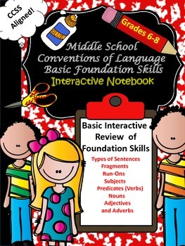 Middle School (6-8) Language Basic Foundation Skills Interactive Notebook