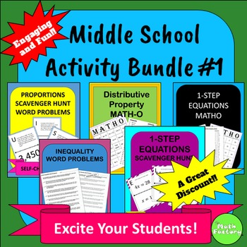 Middle School Math Activity Bundle #1